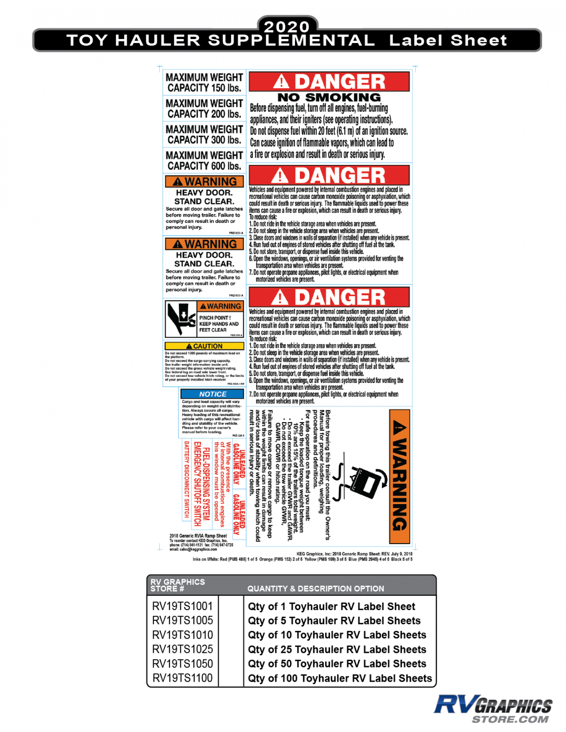 RV Labels - Supplemental RV Toy Hauler Sheet