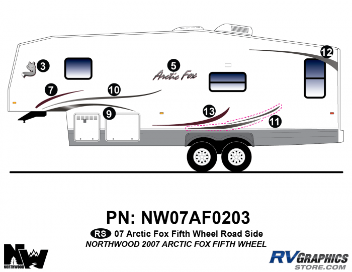 2007 Arctic Fox Fifth Wheel Left Side Kit