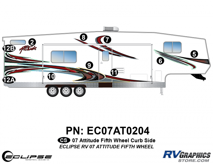 2007 Attitude Fifth Wheel Right Side Graphics Kit