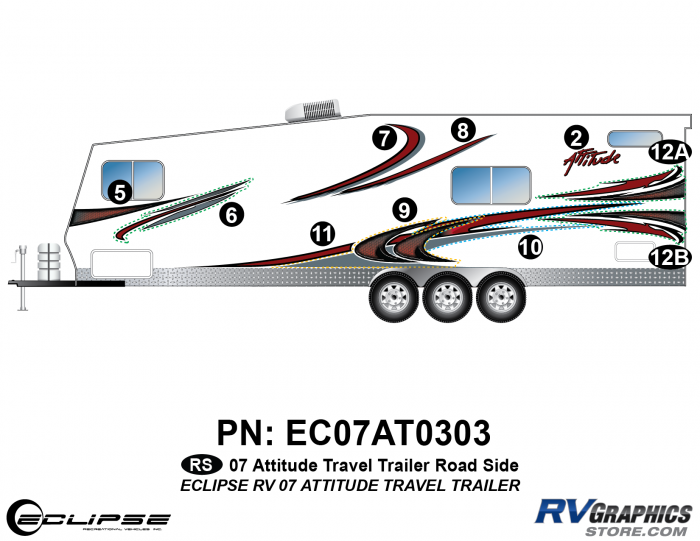 2007 Attitude Travel Trailer Left Side Graphics Kit