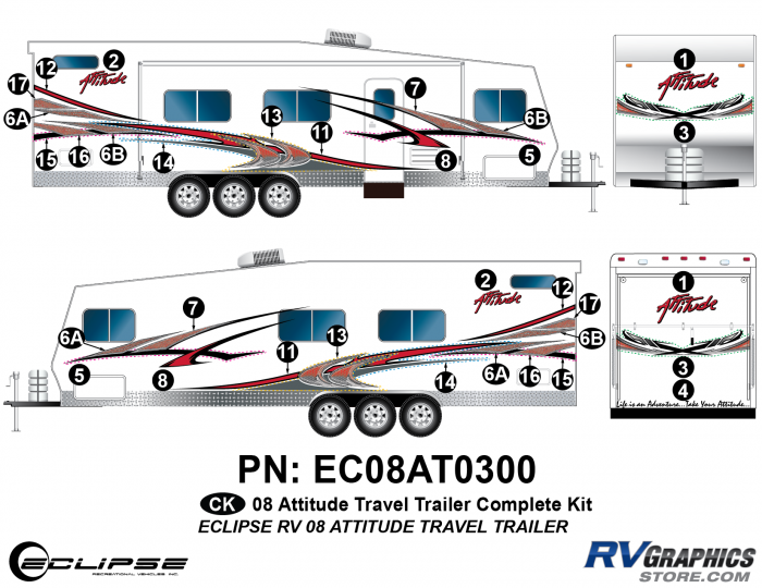 2008 Attitude Travel Trailer Complete Graphics Kit