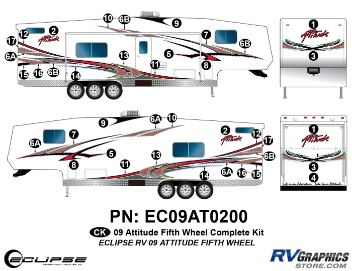 2009 Attitude Fifth Wheel Complete Graphics Kit