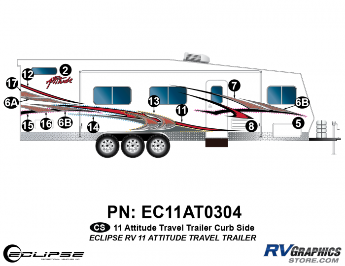 2011 Attitude Travel Trailer Right Side Graphics Kit