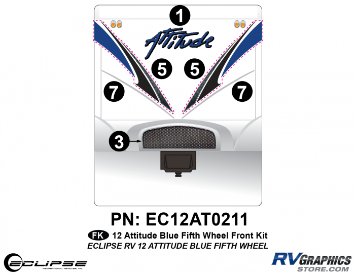 2012 BLUE Attitude Fifth Wheel Front Graphics Kit