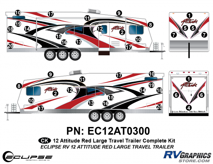2012 RED Attitude Lg Travel Trailer Complete Graphics Kit