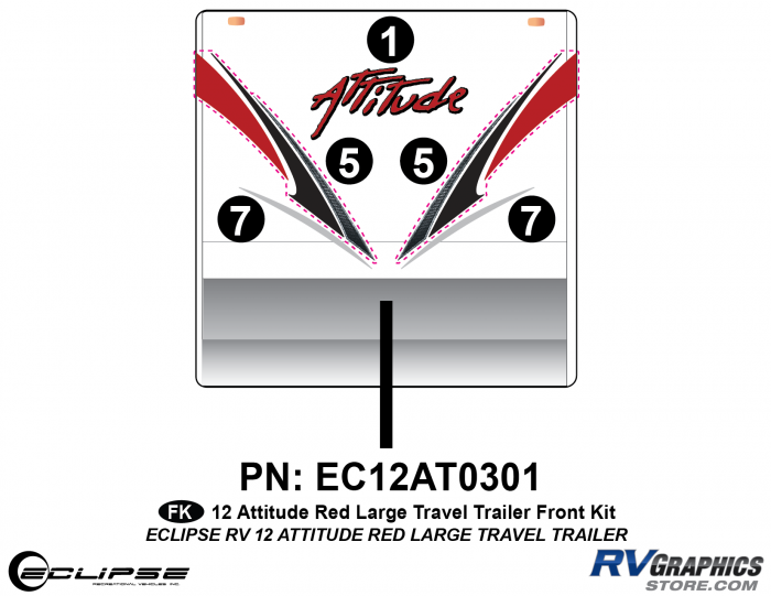 2012 RED Attitude Lg Travel Trailer Front Graphics Kit