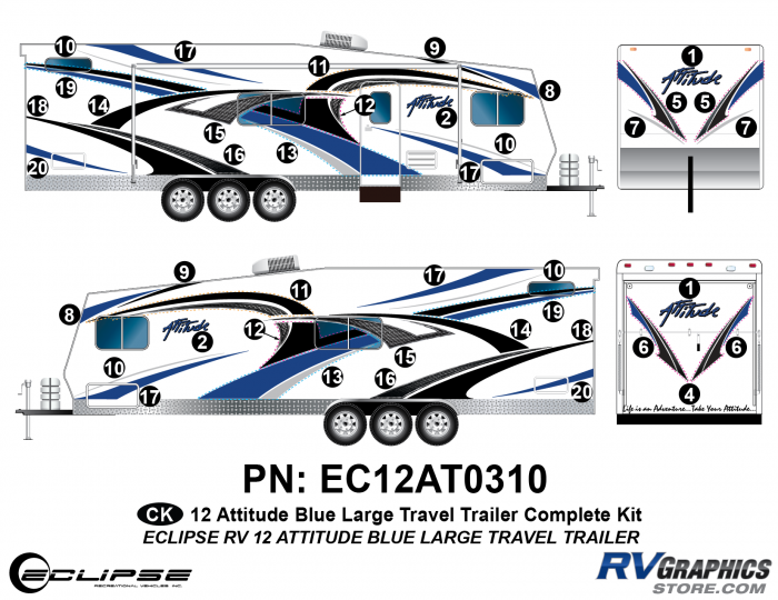 2012 BLUE Attitude Lg Travel Trailer Complete Graphics Kit