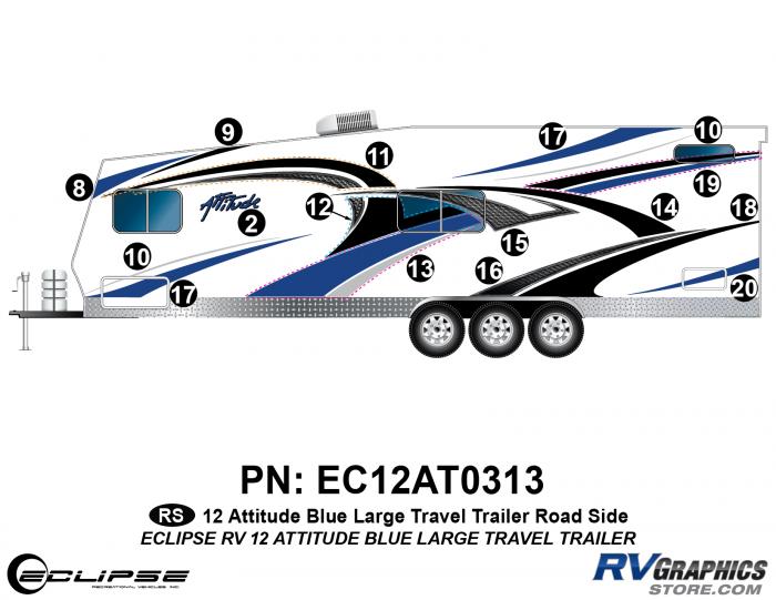 2012 BLUE Attitude Lg Travel Trailer Left Side Graphics Kit