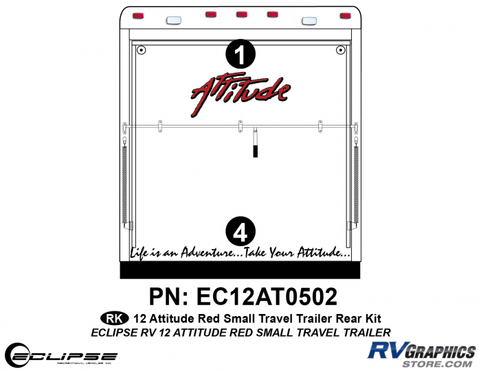 2012 RED Attitude Sm Travel Trailer Rear Graphics Kit