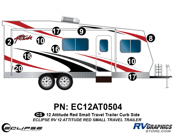 2012 RED Attitude Sm Travel Trailer Right Side Graphics Kit
