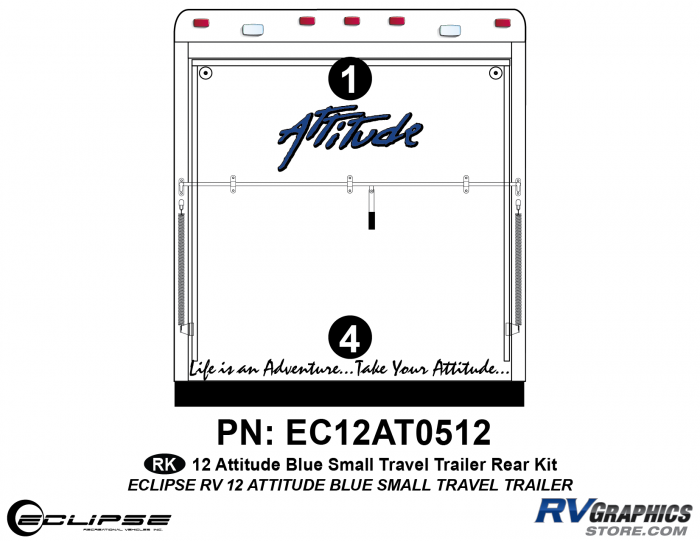 2012 BLUE Attitude Sm Travel Trailer Rear Graphics Kit