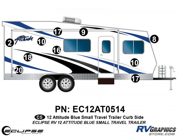 2012 BLUE Attitude Sm Travel Trailer Right Side Graphics Kit