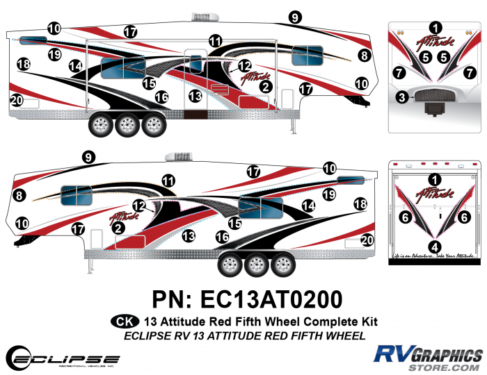 2013 RED Attitude Fifth Wheel Complete Graphics Kit