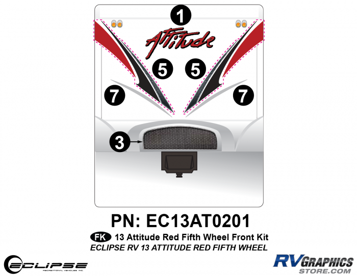 2013 RED Attitude Fifth Wheel Front Graphics Kit