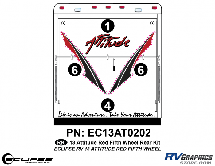 2013 RED Attitude Fifth Wheel Rear Graphics Kit