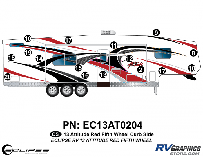 2013 RED Attitude Fifth Wheel Right Side Graphics Kit