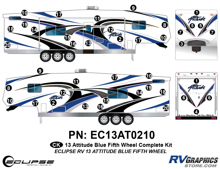 2013 BLUE Attitude Fifth Wheel Complete Graphics Kit