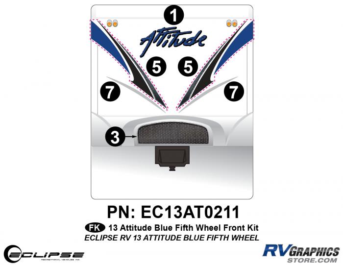 2013 BLUE Attitude Fifth Wheel Front Graphics Kit