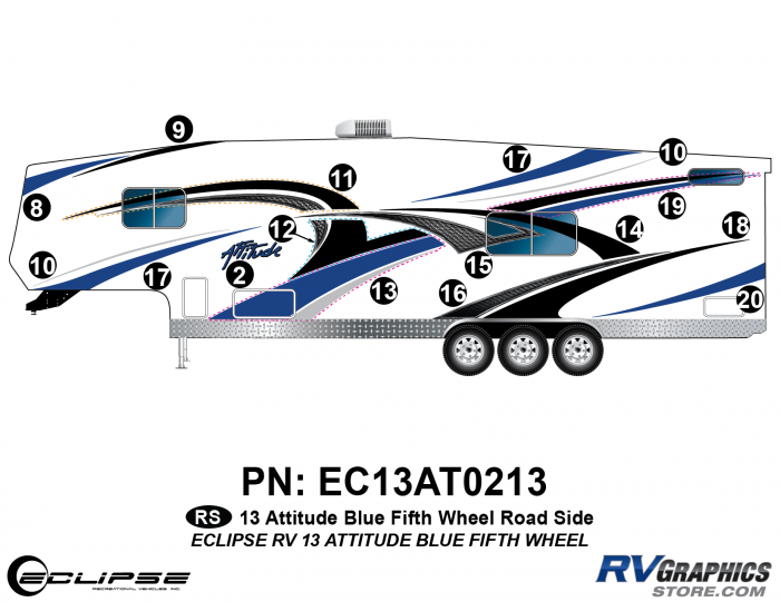 2013 BLUE Attitude Fifth Wheel Left Side Graphics Kit