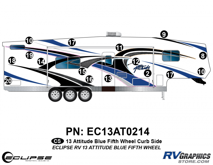 2013 BLUE Attitude Fifth Wheel Right Side Graphics Kit