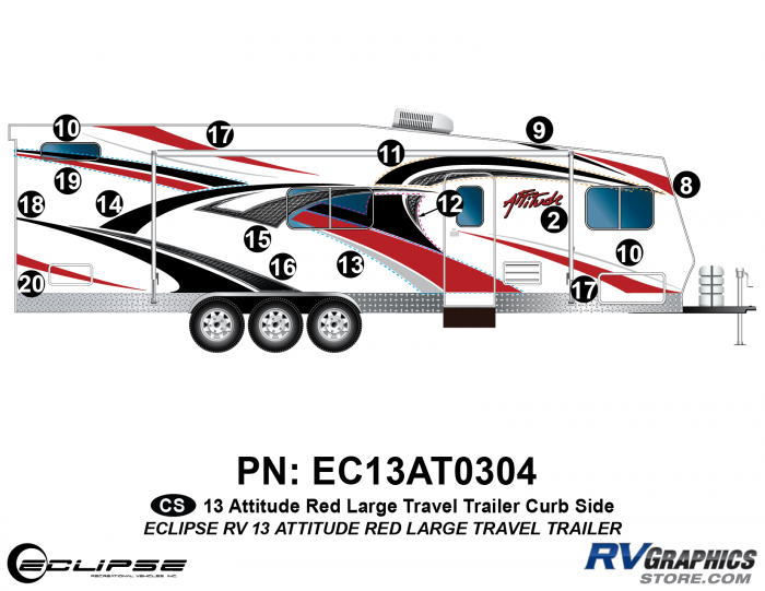 2013 RED Attitude Lg Travel Trailer Right Side Graphics Kit