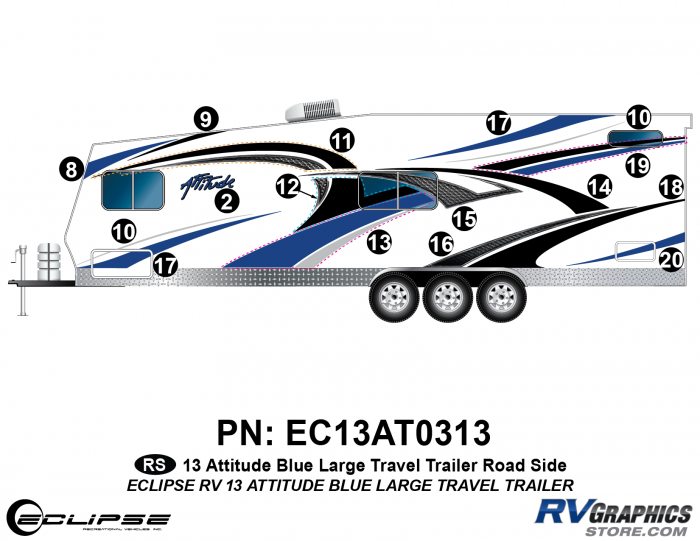 2013 BLUE Attitude Lg Travel Trailer Left Side Graphics Kit