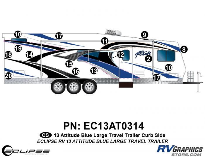 2013 BLUE Attitude Lg Travel Trailer Right Side Graphics Kit