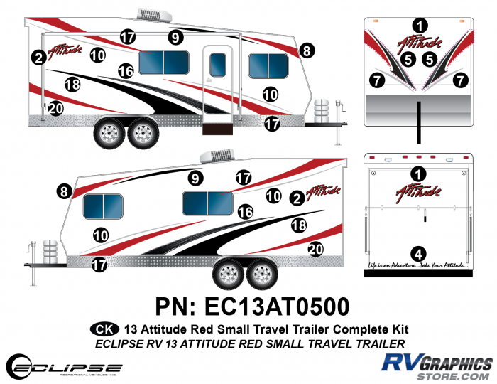 2013 RED Attitude Sm Travel Trailer Complete Graphics Kit