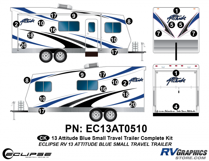 2013 BLUE Attitude Sm Travel Trailer Complete Graphics Kit