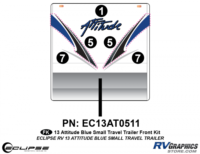 2013 BLUE Attitude Sm Travel Trailer Front Graphics Kit