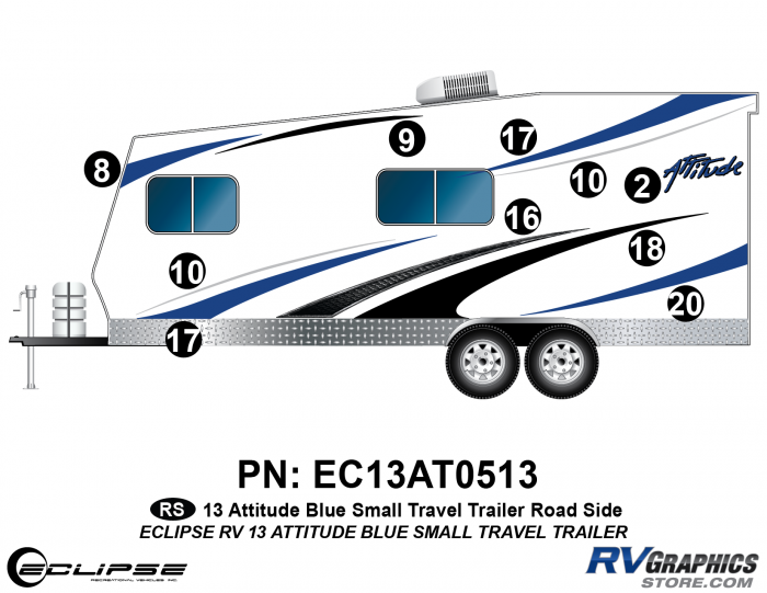 2013 BLUE Attitude Sm Travel Trailer Left Side Graphics Kit