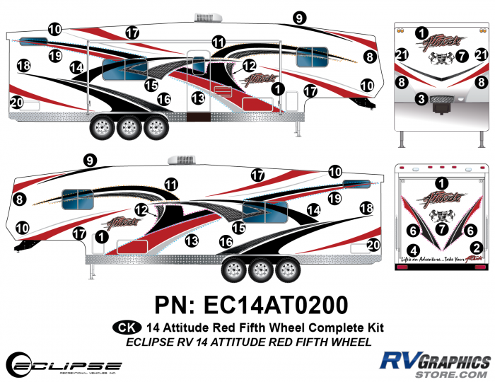 2014 RED Attitude Fifth Wheel Complete Graphics Kit