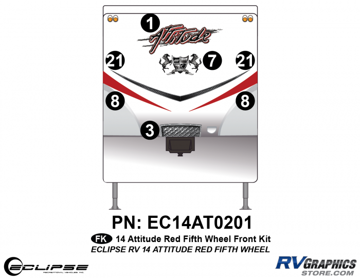 2014 RED Attitude Fifth Wheel Front Graphics Kit