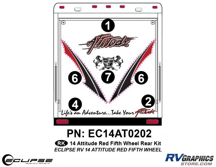 2014 RED Attitude Fifth Wheel Rear Graphics Kit