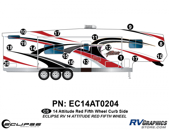 2014 RED Attitude Fifth Wheel Right Side Graphics Kit