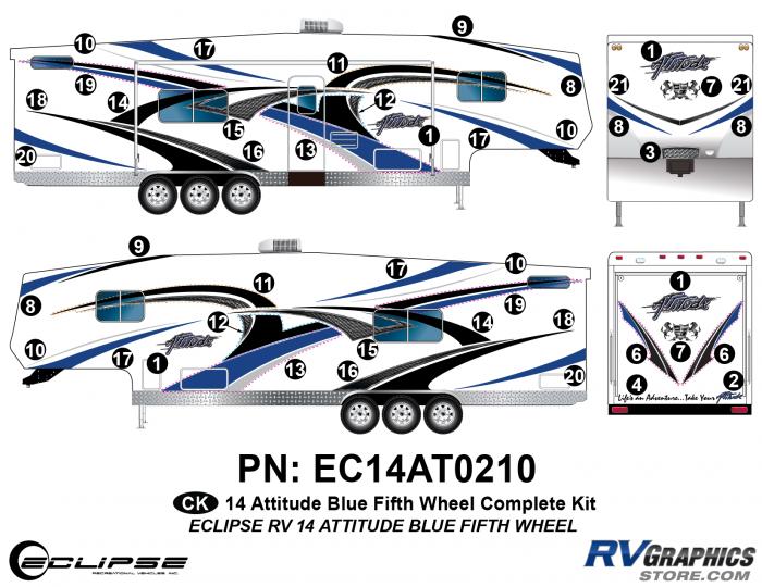 2014 BLUE Attitude Fifth Wheel Complete Graphics Kit