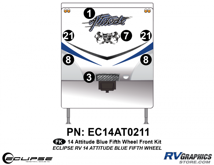 2014 BLUE Attitude Fifth Wheel Front Graphics Kit
