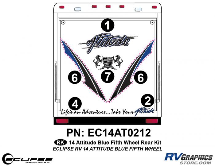 2014 BLUE Attitude Fifth Wheel Rear Graphics Kit