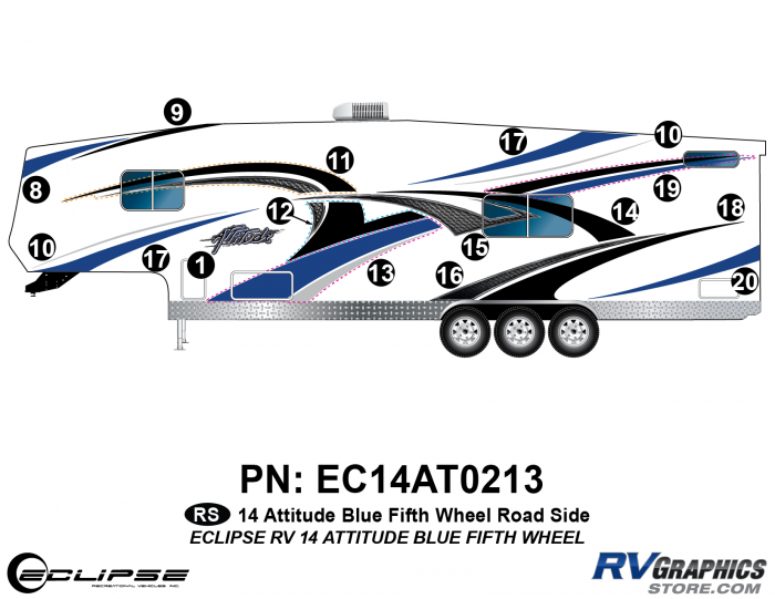 2014 BLUE Attitude Fifth Wheel Left Side Graphics Kit