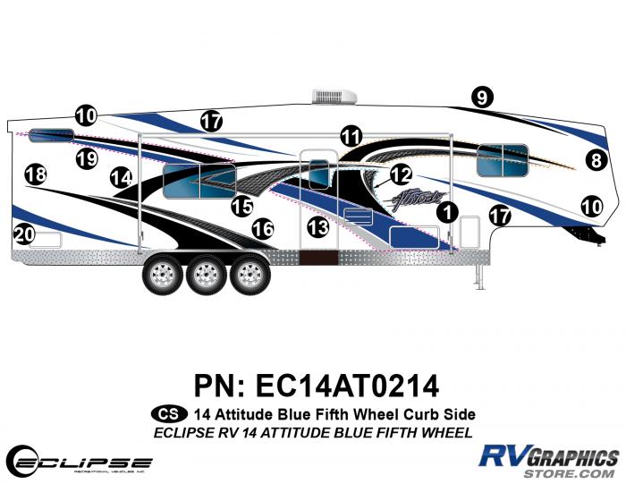 2014 BLUE Attitude Fifth Wheel Right Side Graphics Kit