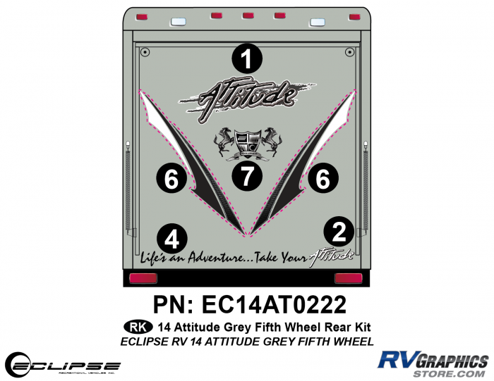 2014 Gray Attitude Fifth Wheel Rear Graphics Kit