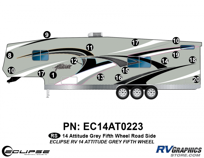 2014 Gray Attitude Fifth Wheel Left Side Graphics Kit