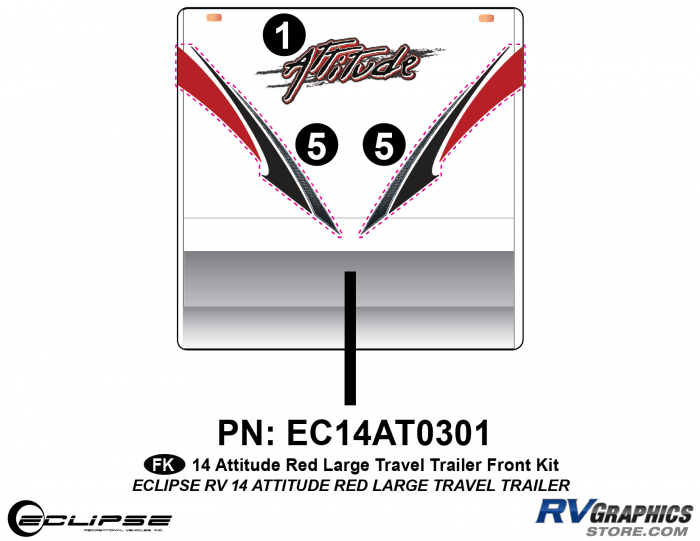 2014 RED Attitude Lg Travel Trailer Front Graphics Kit