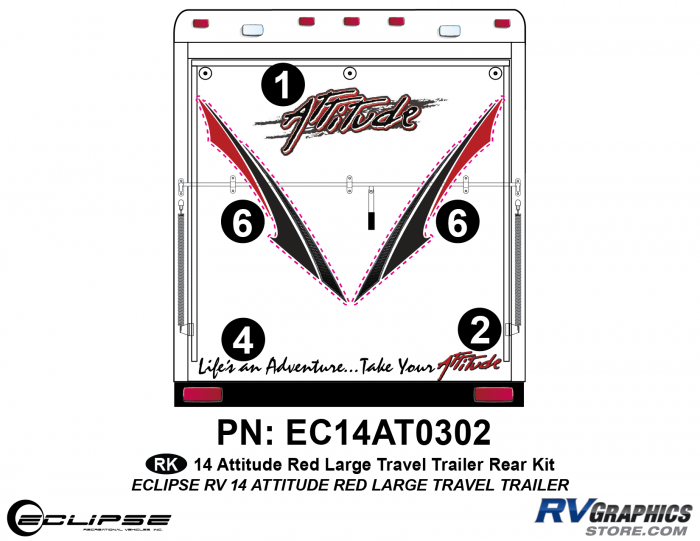 2014 RED Attitude Lg Travel Trailer Rear Graphics Kit