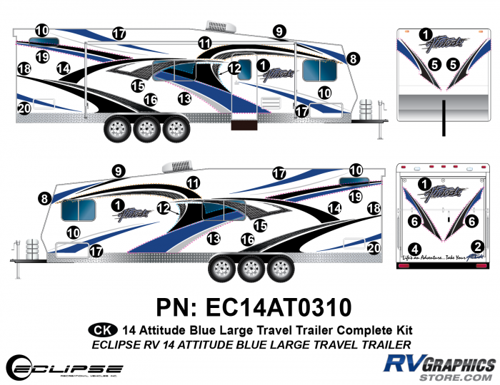 2014 BLUE Attitude Lg Travel Trailer Complete Graphics Kit