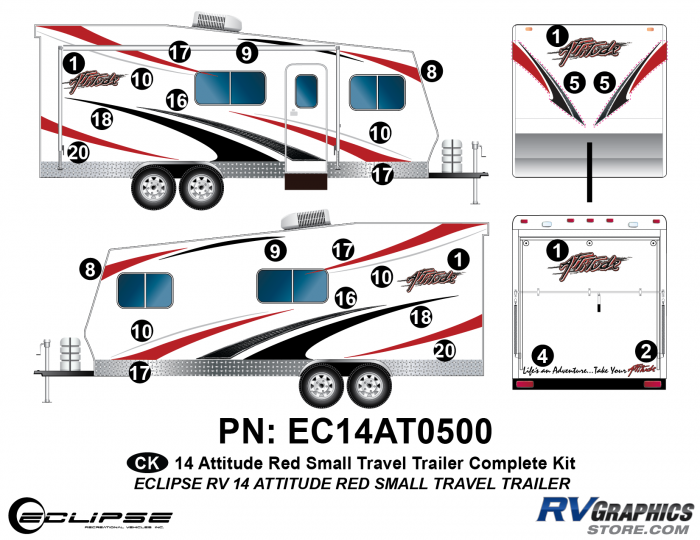 2014 RED Attitude Sm Travel Trailer Complete Graphics Kit