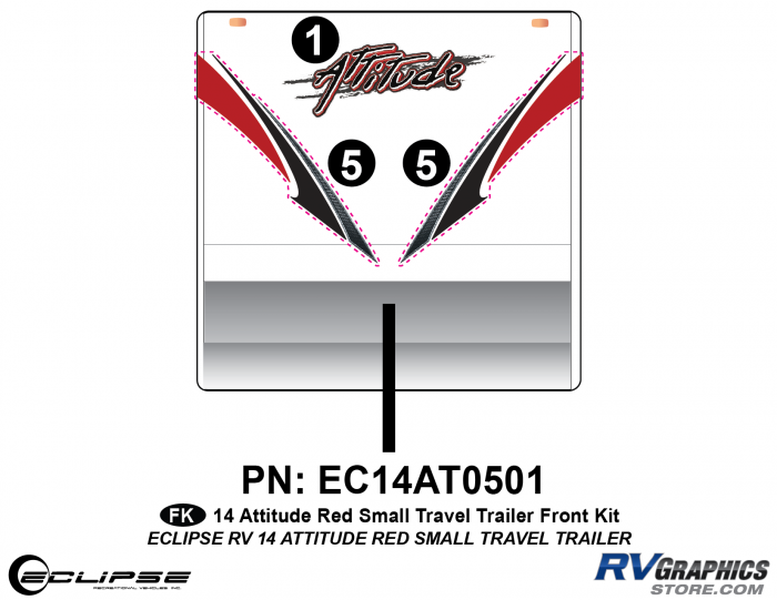 2014 RED Attitude Sm Travel Trailer Front Graphics Kit