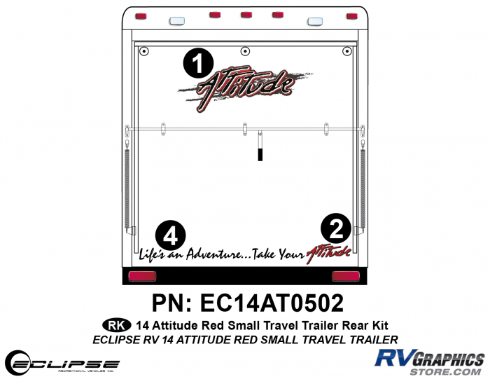 2014 RED Attitude Sm Travel Trailer Rear Graphics Kit