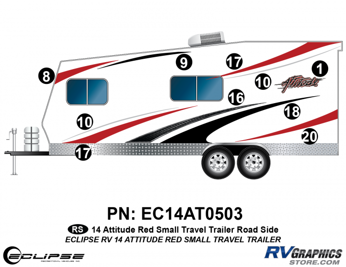 2014 RED Attitude Sm Travel Trailer Left Side Graphics Kit