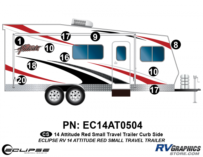 2014 RED Attitude Sm Travel Trailer Right Side Graphics Kit